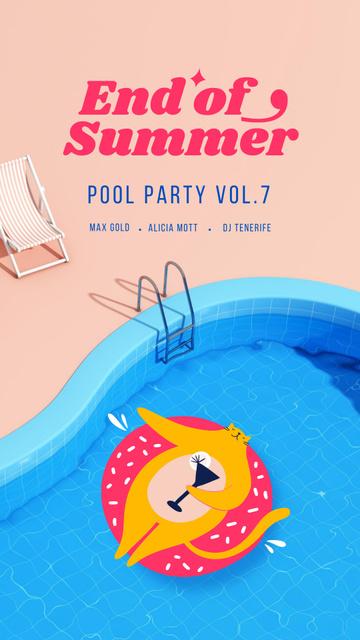 Modèle de visuel Summer Party Announcement with Cat in Pool - Instagram Story