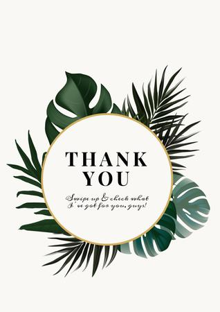 Thank You card with Tropical Leaves Poster Modelo de Design