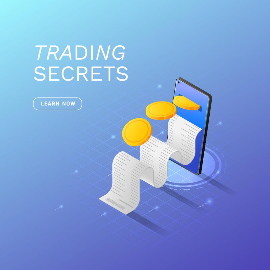 Designvorlage Phone with Bill for Trading Secrets für Instagram