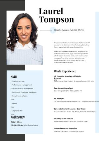 Plantilla de diseño de Human resources specialist skills and experience Resume