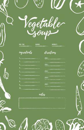 Vegetable Soup Cooking Steps Recipe Card – шаблон для дизайну