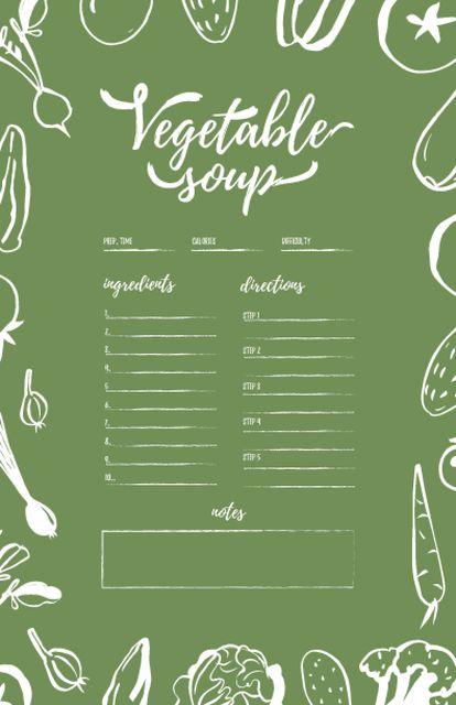 Plantilla de diseño de Vegetable Soup Cooking Steps Recipe Card