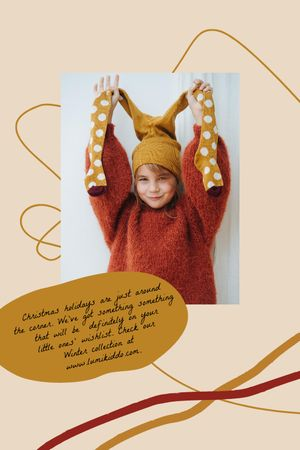 Designvorlage Kids' Clothes ad with smiling Girl für Tumblr