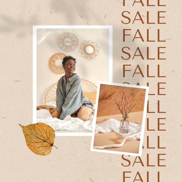 Szablon projektu Autumn Sale of Furniture with Woman in Stylish Bedroom Animated Post