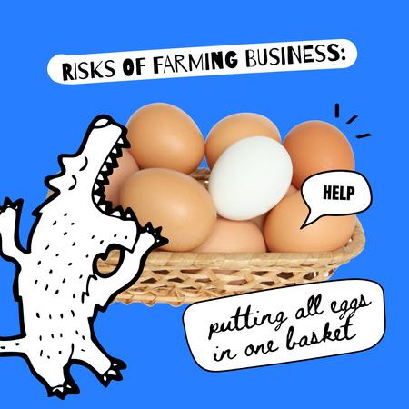 Funny Monster eating Eggs Instagram Modelo de Design