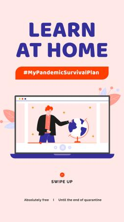 Plantilla de diseño de #MyPandemicSurvivalPlan Man studying Globe on screen Instagram Story