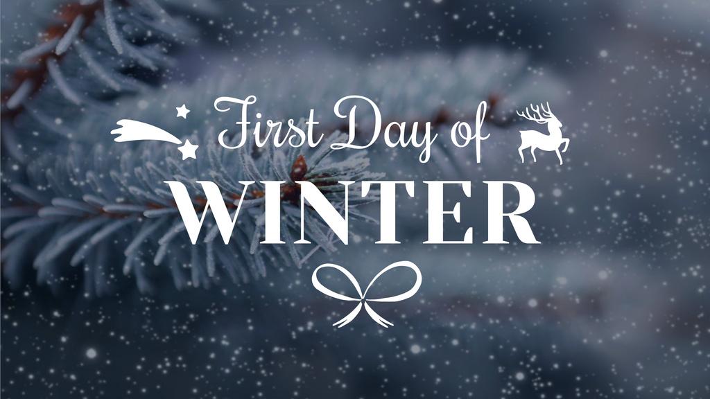 Winter Greeting with Frozen Fir Tree Branch — Crea un design