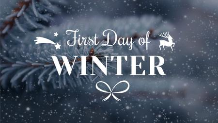 Plantilla de diseño de Winter Greeting with Frozen Fir Tree Branch Youtube