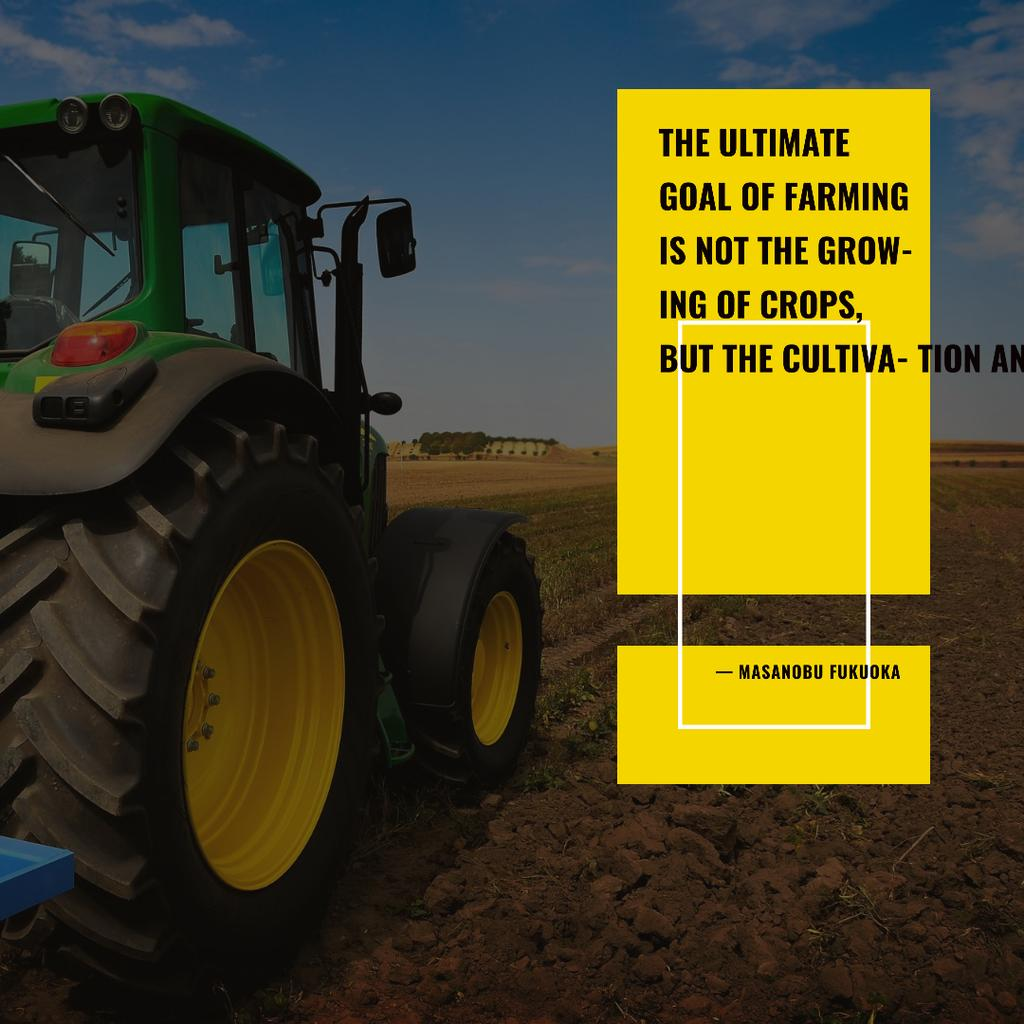 Tractor on agro field with Inspirational Quote Instagram Design Template
