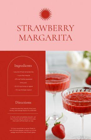 Ontwerpsjabloon van Recipe Card van Strawberry Margarita Cocktail in Glasses