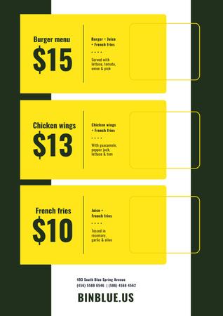 Template di design Fast Food menu Offer Poster