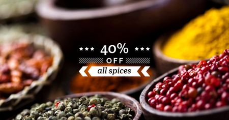 Sale with Spices and peppers Facebook AD Design Template