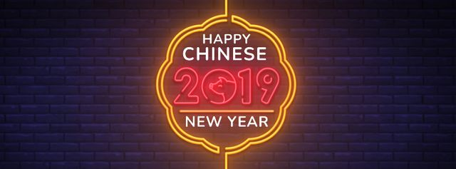 Happy Chinese New Year neon sign Facebook Video cover – шаблон для дизайну