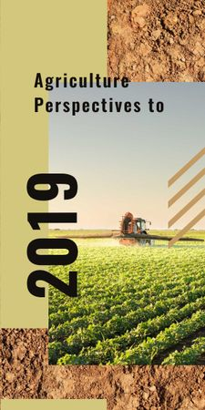 Plantilla de diseño de Agriculture concept with Harvester working in field Graphic