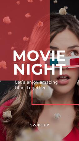Modèle de visuel Movie Night Announcement with Woman in 3d Glasses - Instagram Story
