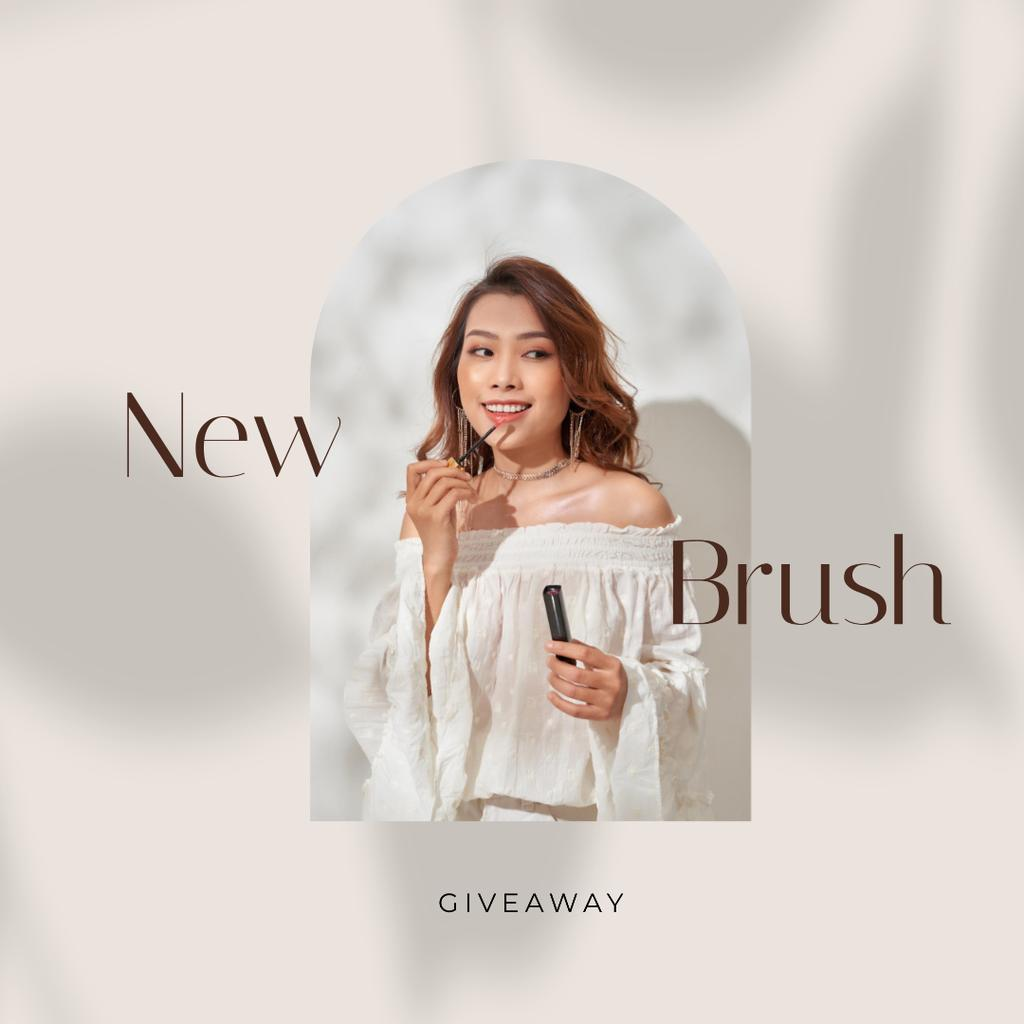 New Brush Giveaway with Woman applying lipstick Instagram Design Template