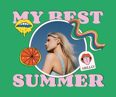 Summer Inspiration with Attractive Young Girl Facebook tervezősablon