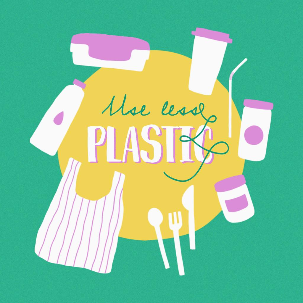 Eco Concept with Plastic Products illustration Instagram Design Template