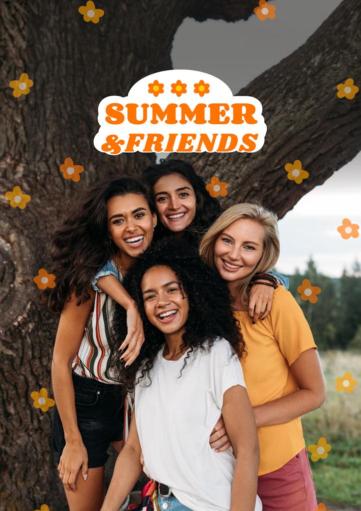 Summer Inspiration with Friends near Tree Poster – шаблон для дизайна