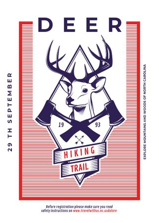 Template di design Hiking Trail Ad Deer Icon in Red Invitation