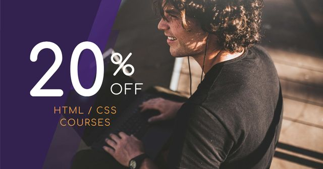 Courses Discount Offer with Smiling Man Facebook AD Modelo de Design