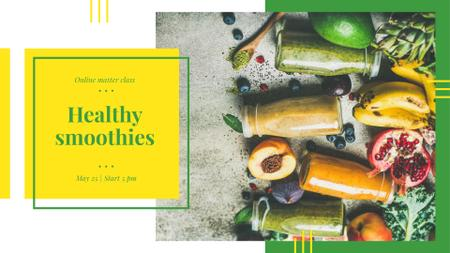 Designvorlage Bottles with healthy drinks and Fruits für FB event cover