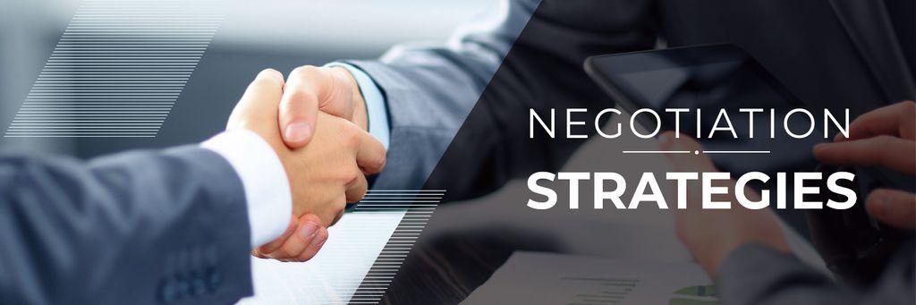 Plantilla de diseño de negotiation strategies poster with business people shaking hands Twitter