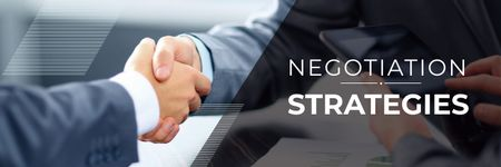 negotiation strategies poster with business people shaking hands Twitter Design Template