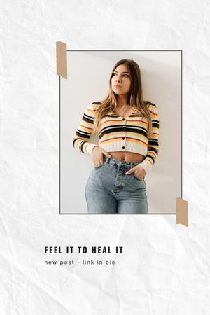 Mental Health Inspiration with Young Girl Pinterest – шаблон для дизайну