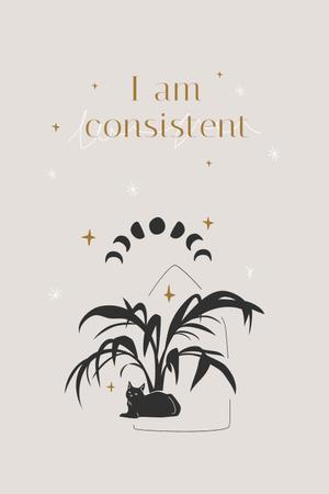 Mental Health Inspiration with Plant and Cat Pinterest Modelo de Design