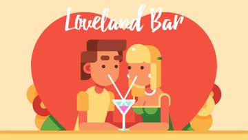 Romantic Couple with cocktail on Valentine's Day