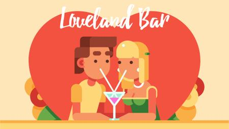 Romantic Couple with cocktail on Valentine's Day Full HD video Modelo de Design