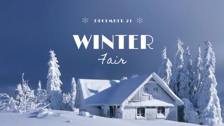 Plantilla de diseño de Winter Fair Announcement with Snowy House FB event cover