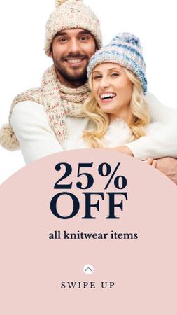 Modèle de visuel Cute Couple in Knitted Hats - Instagram Story