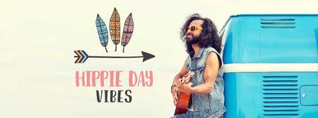 Plantilla de diseño de Hippie Day Celebration with Man playing Guitar Facebook cover