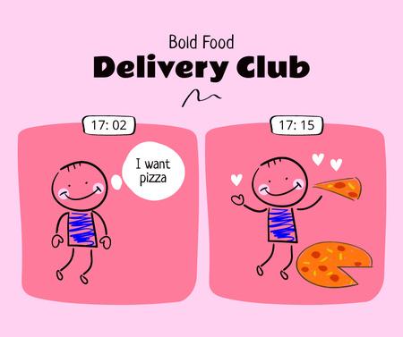Cute Promotion of Delivery Services Facebook Modelo de Design