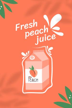 Cute Illustration of Fresh Peach Juice Pinterestデザインテンプレート