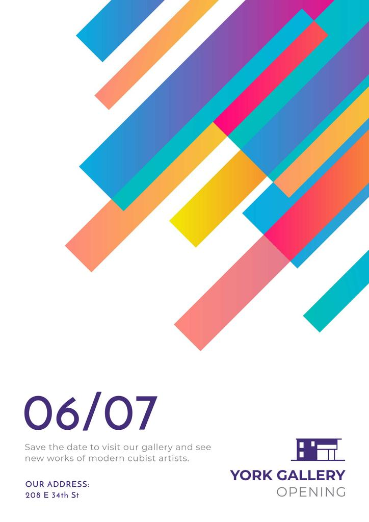 Gallery Opening Announcement with Colorful Lines — Modelo de projeto