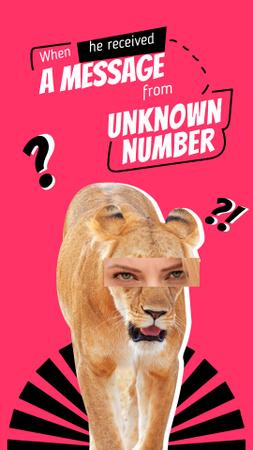 Modèle de visuel Funny Illustration of Lioness with Female Eyes - Instagram Story