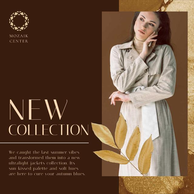 Ontwerpsjabloon van Animated Post van Fashion Collection Ad with Stylish Woman in Trench