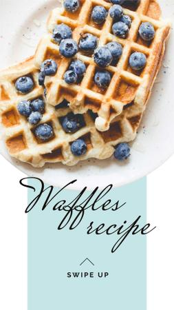 Ontwerpsjabloon van Instagram Story van Breakfast Recipe Ad with Tasty Waffle