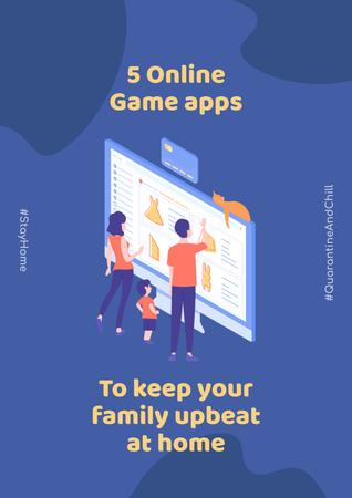 Template di design #QuarantineAndChill Online Game apps Ad with Happy Family Poster