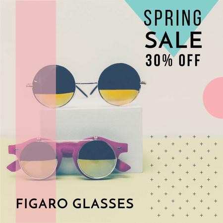 Plantilla de diseño de Sunglasses Sale ad Stylish Round Glasses Instagram AD