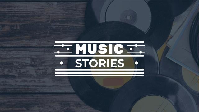 Ontwerpsjabloon van Youtube van Vinyl records on wooden Table