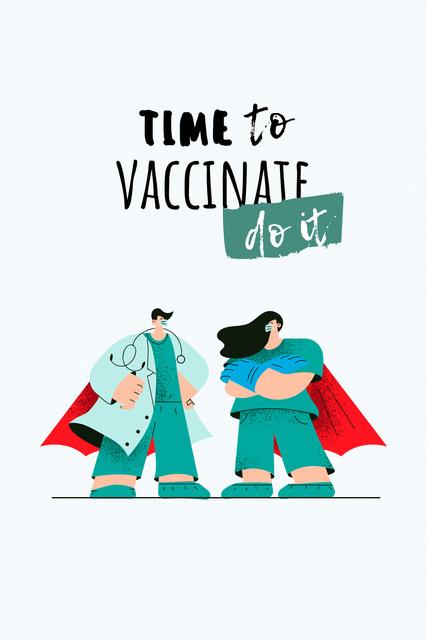 Vaccination Announcement with Doctors in Superhero's Cloaks Pinterest – шаблон для дизайну