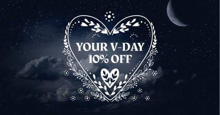 Valentine's Day Discount Offer with Heart Facebook AD – шаблон для дизайна