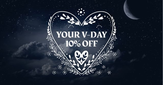 Template di design Valentine's Day Discount Offer with Heart Facebook AD
