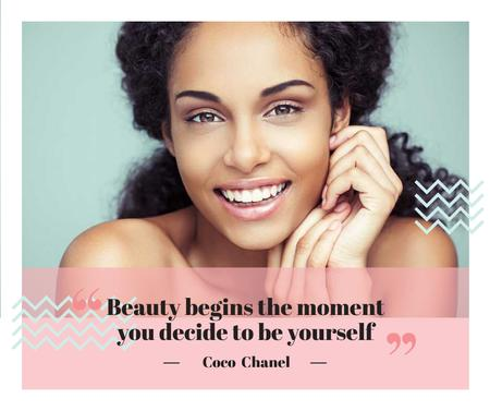 Beauty Quote with smiling Woman with glowing Skin Facebook Tasarım Şablonu
