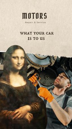 Ontwerpsjabloon van Instagram Story van Funny Car Repair Services Ad with Mona Lisa