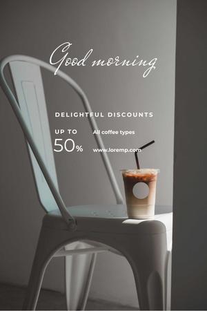 Ontwerpsjabloon van Pinterest van Cup with Latte for good morning